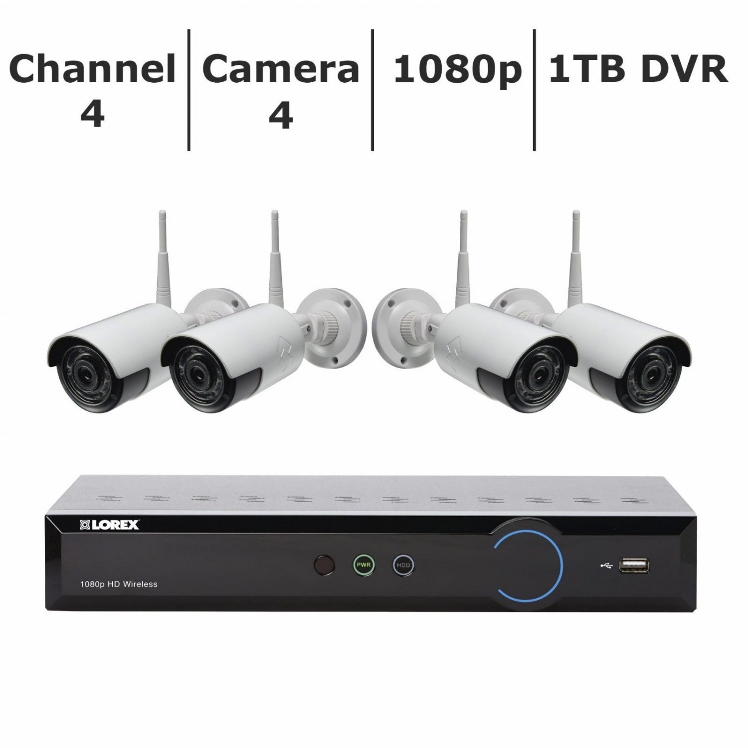 Lorex 4-Channel 4-Camera Wireless Security System with 1TB HDD DVR BRAND NEW