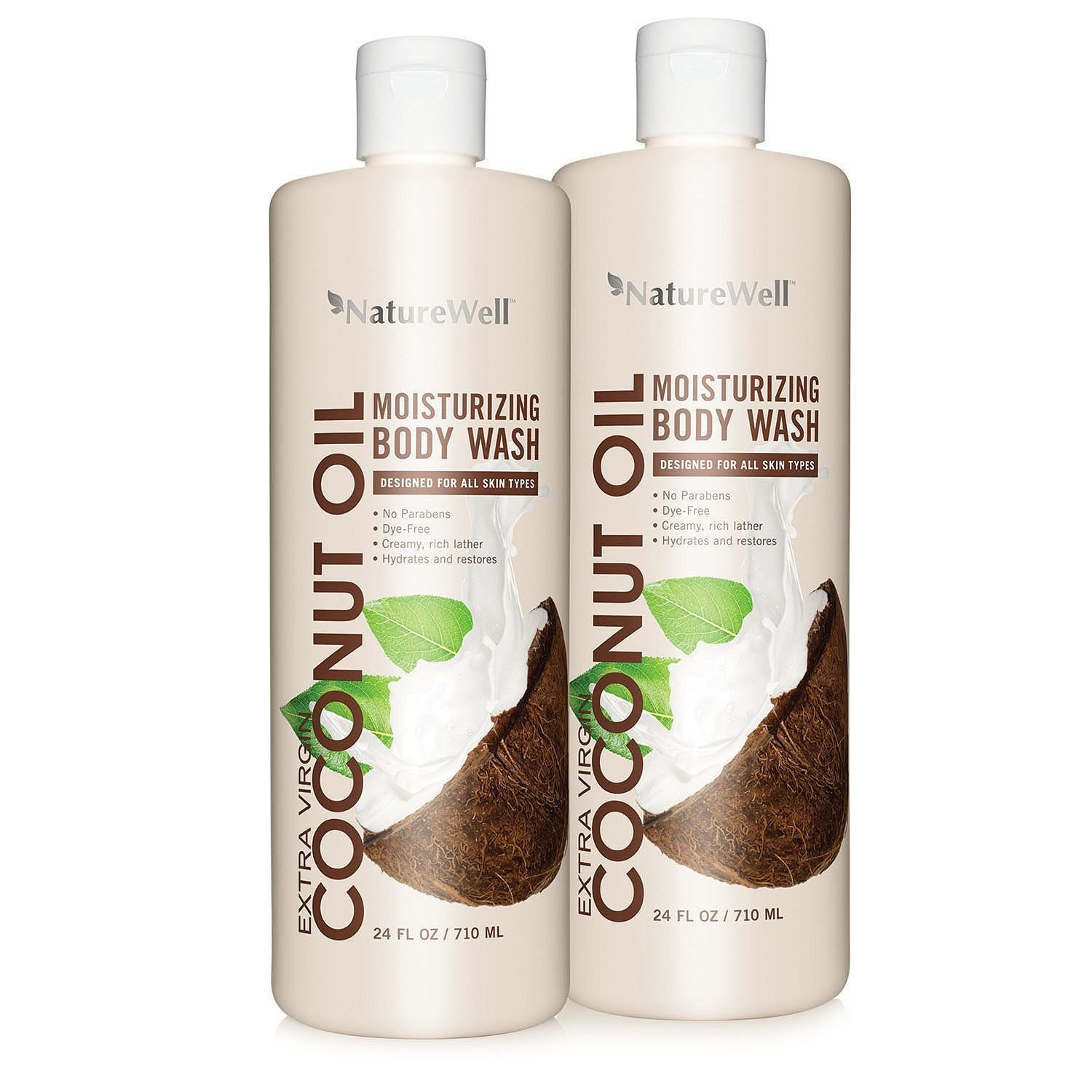 Nature Well Coconut Oil Body Wash Dye Free 24 fl. oz 2 ct NEW