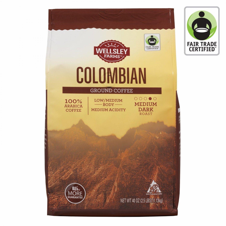Wellsley Farms Colombian Ground Coffee, 40 oz. NEW