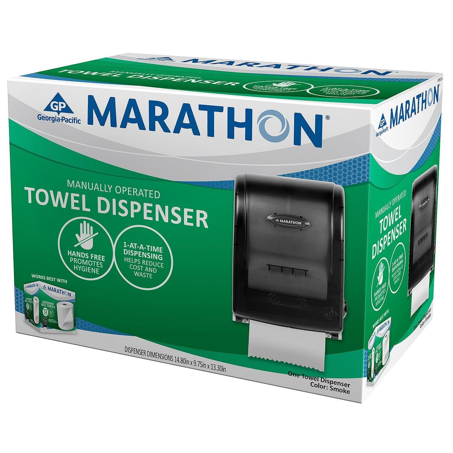 Marathon Manual Roll Towel Dispenser, 350 Ft. Capacity (Smoke) 6406001 | New