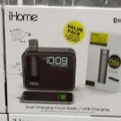 iHome Kineta Dual Charging Alarm Clock Radio with Portable Powerbank BRAND NEW
