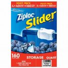 Ziploc Slider Storage Bags, Quart Size, 160 ct