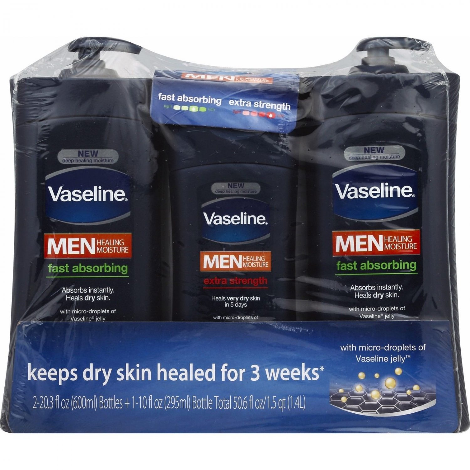 Vaseline Men's Fast Absorbing and Extra Strength Body & Face Lotion 20.3 Oz NEW