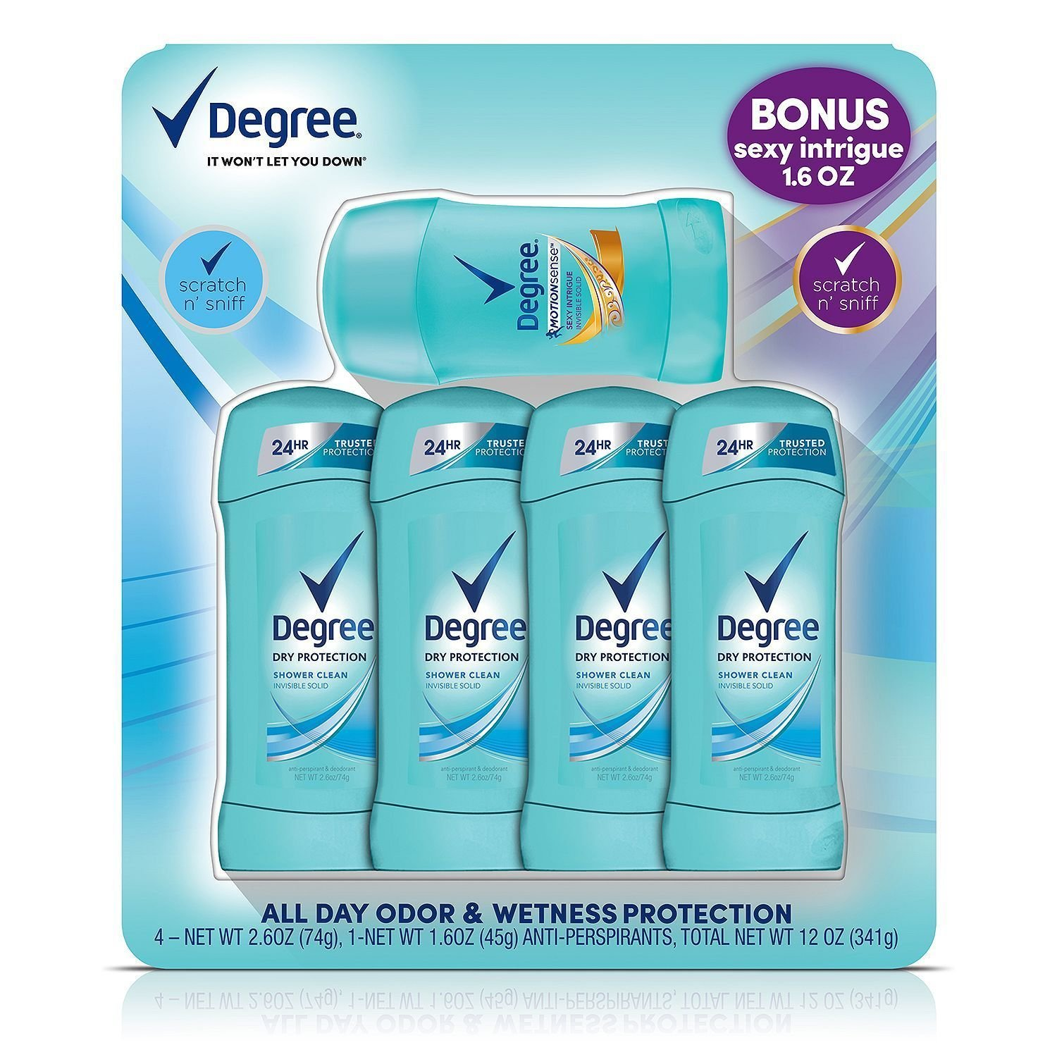 Degree Dry Protection Deodorant, Shower Clean (2.6 oz., 4 pk. + 1.6 oz. Sexy Int