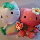 Hello Kitty Mermaid & Hula Hello Kitty Set Lot of 2 Ty Plush Toys