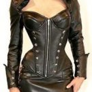 Genuine Leather Women Roleplay Holloween Police Corset Dress Gothic Domina Black