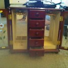 jewelry wood box flower glass mirror inside for rings/watches, and more