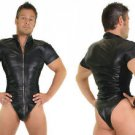 Genuine Leather Men Catsuit Fitted Body Suit Fetish Gay Master Gothic Punk HOT