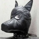 Real leather DOG mask leder hood gimp cuir mask slave restraint halloween Puppy