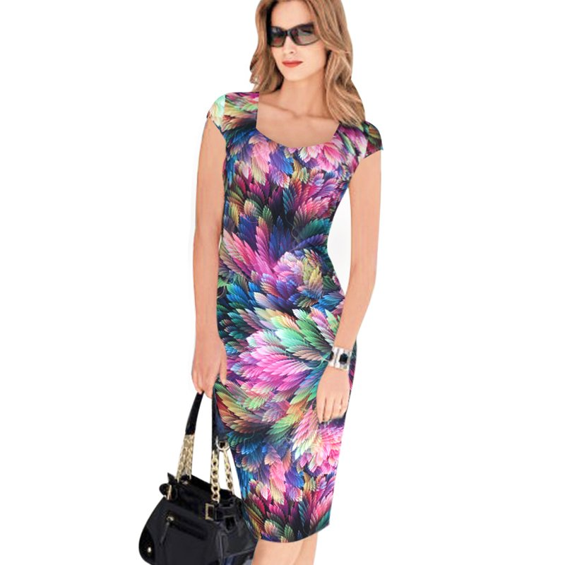 Designer Women Dress Elegant Floral Print Work Business Casual Party Pencil Sheath ITC371