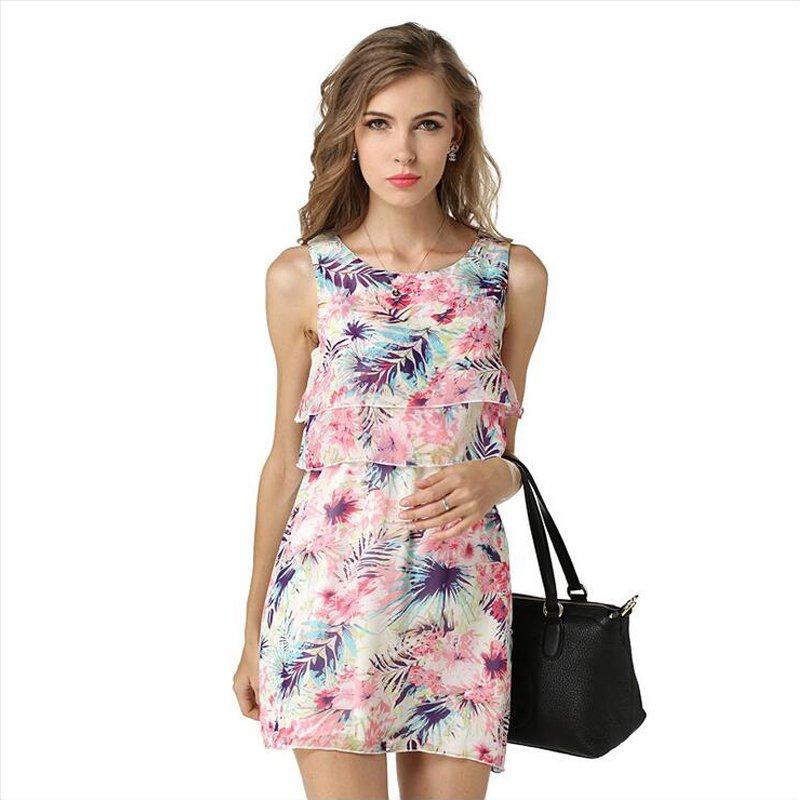 Women Fashion Elegant Chiffon Print Tops Shirt Dress Sleeveless Slim Sexy Beach Casual ITC372.