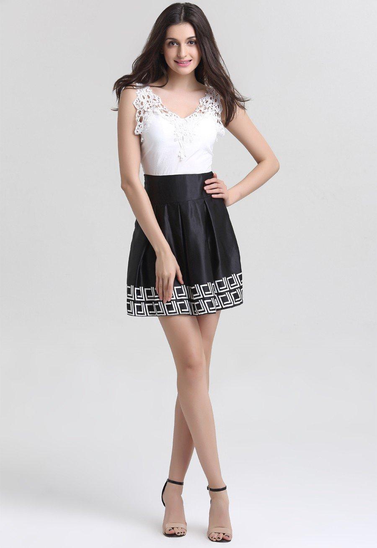 Women Vintage Sleeveless Summer Dress V-neck Lace Patchwork Black White Sexy ITC388.