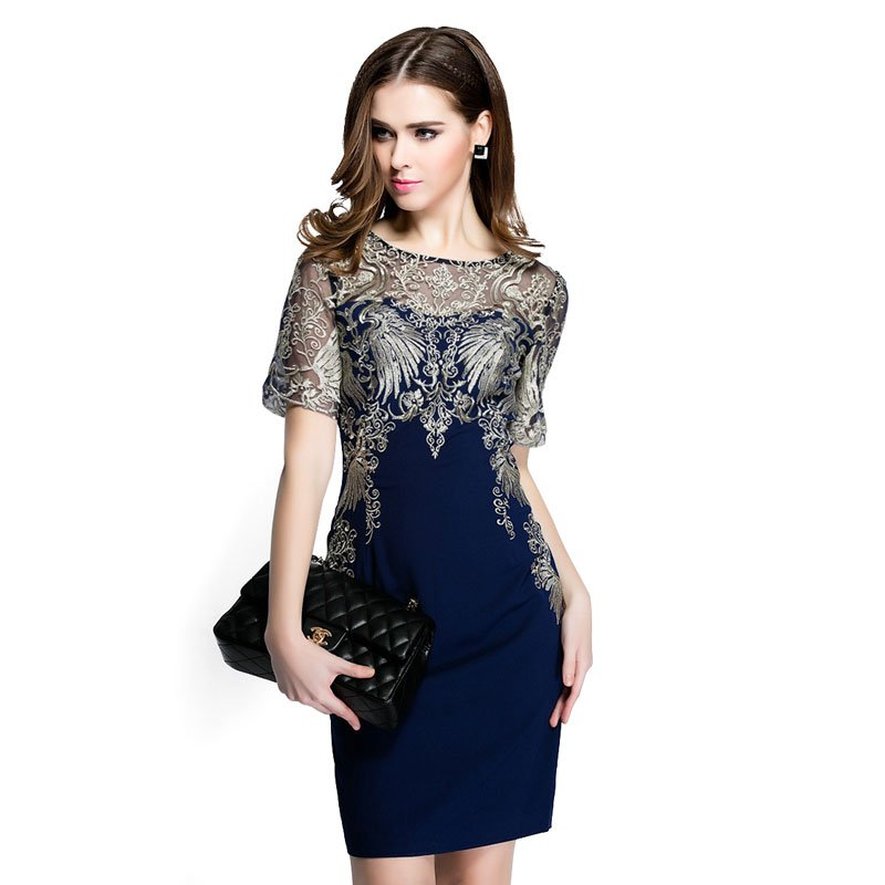 Women Summer Dress High Quality Embroidery Patchwork  Casual Dress Short Sleeve Slim ITC389