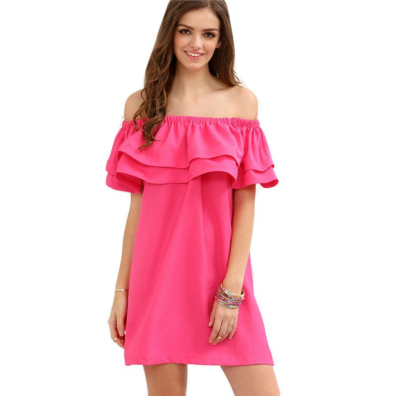 2016 Women Fashion Straight Dress Hot Pink Off The Shoulder Ruffle Short Sleeve Dress ITC390.