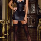 Hot Sexy Women Lingerie Erotic Teddy Nightclub Leather Dress + Stockings ITC859.