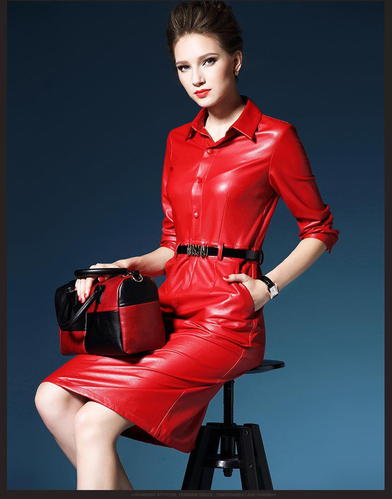 Red Faux Leather Dress Women Ladies Spring Formal Outerwear Long Sleeve ITC905.