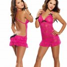 Valentine's Day Sexy Lingerie Expose Shoulder Rose Lace Baby Doll Erotic Costume ITC916