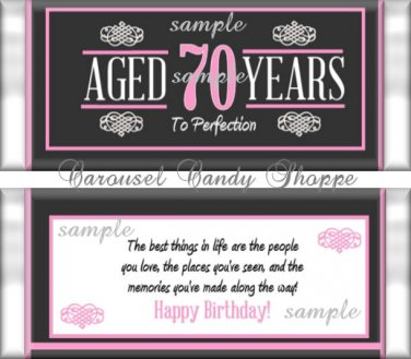 Aged To Perfection Chalkboard Pink Milestone Birthday Candy Wrappers Printable DIY