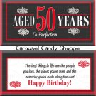 Aged To Perfection Chalkboard Red 50th Birthday Candy Wrappers Printable DIY