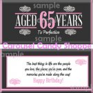 Aged To Perfection 65th Birthday Candy Wrappers Printable DIY