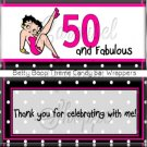 50th Betty Boop Inspired Theme Birthday Candy Wrappers Printable DIY