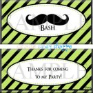 Mustache Bash Birthday Candy Wrappers Printable DIY