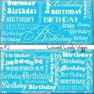 Aqua Blue Word Art Happy Birthday Candy Wrappers Printable DIY