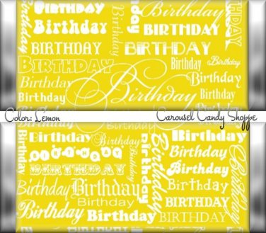 Lemonade Yellow Word Art Happy Birthday Candy Wrappers Printable DIY