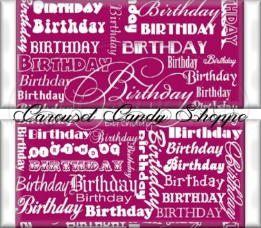 Jazzberry Pink Word Art Happy Birthday Candy Wrappers Printable DIY