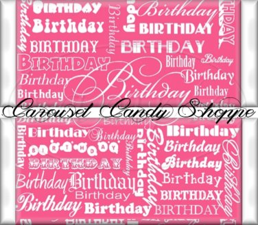 Strawberry Pink Word Art Happy Birthday Candy Wrappers Printable DIY