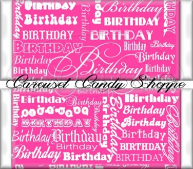 Wild Strawberry Pink Word Art Happy Birthday Candy Wrappers Printable DIY