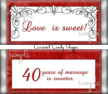 Love is Sweet 40th Anniversary Candy Wrappers Printable DIY