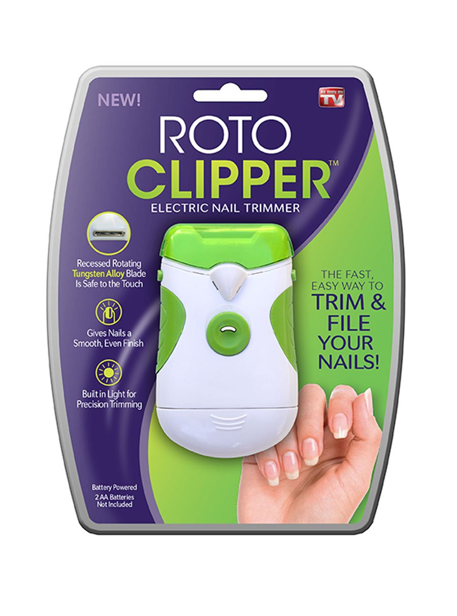 Roto Clipper As Seen On Tv Built In Light  Electric Nail Trimmer, White/Green