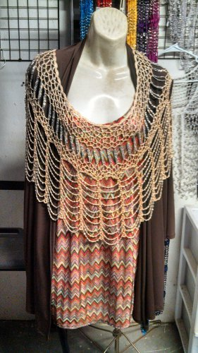 Crochet beaded poncho with silver beads great for casual  or formal  wear