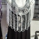 Crochet  Beaded Poncho With Silver Beads great for casual  or more formal  wear .