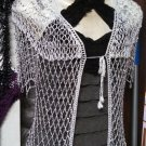 Crochet beaded cardigan with silver beads is great for casual wardrobe