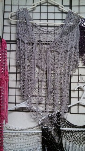 Crochet beaded cardigan with silver beads great for casual wardrobe