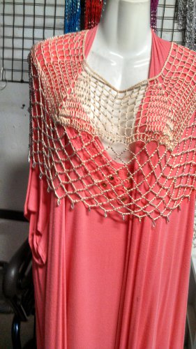 Crochet  Beaded Poncho With Silver   h great for casual  or more formal  wear .