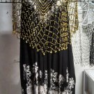 Crochet  Beaded Poncho With Silver Beads beautifu great for casual  or more formal  wear .