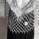 Crochet  Beaded Poncho With Silver Beads greq6 for casual  or more formal  wear .