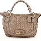 COACH 19312 Kristin Woven Leather Round Satchel Crossbody shoulder Bag,