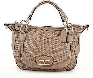 COACH 19312 Kristin Woven Leather Round Satchel Crossbody shoulder Bag,