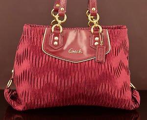 Coach F20050 Ashley gathered Satin carryall handbag Purse