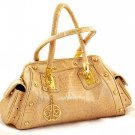 CALLA HANDBAG GOLDEN BEIGE REPTILE PATENT LEATHER SHOULDER BAG satchel