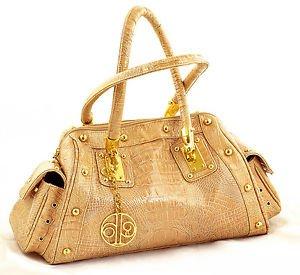 CALLA HANDBAG GOLDEN BEIGE REPTILE PATENT LEATHER SHOULDER BAG satchel