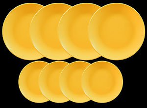 DINNERWARE 4 ceramic Dinner plates Sunflower Yellow matte with side plates.