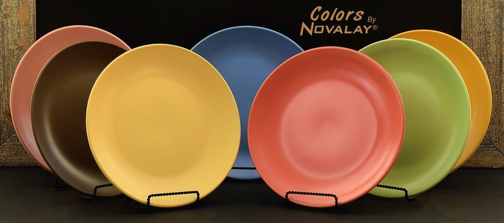 DINNERWARE 7 Ceramic dinner plates mixed color matte KITCHEN PLATES