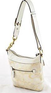 COACH Optic Signature Canvas Leather Duffel Handbag Purse 10377