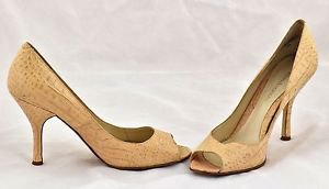 Enzo Angiolini beige open toe croc leather heels shoes pumps size 9M