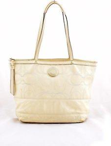 Coach F19198 Signature Stripe Stitched Patent Leather Bag